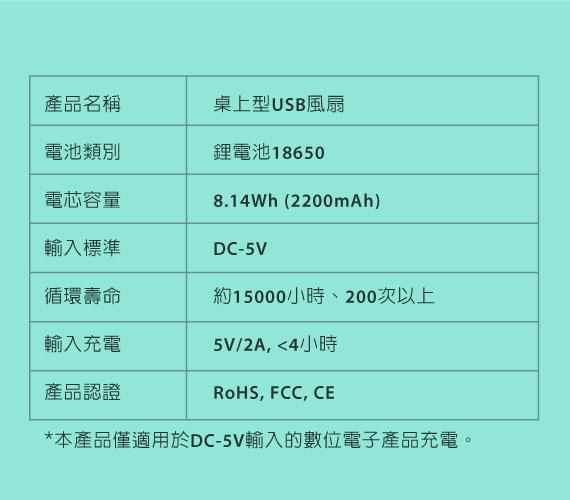 |產品規格|桌上型USB風扇/ USB Desk Fan